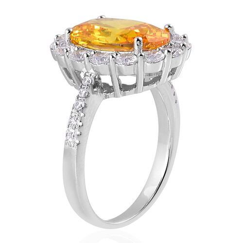 AAA Simulated Citrine and Simulated White Diamond Ring in Rhodium Plated Sterling Silver