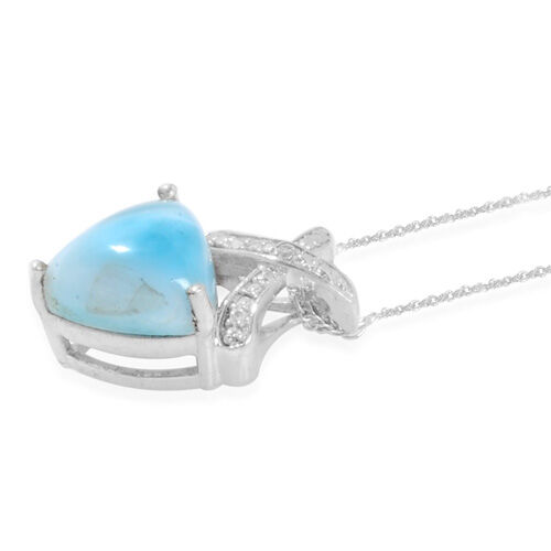 Larimar (3.25 Ct) and Diamond Platinum Overlay Sterling Silver Pendant With Chain  3.254  Ct.