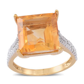 Uruguay AAA Rare Size Citrine (Sqr 10.00 Ct), White Zircon Ring in 14K Gold Overlay Sterling Silver 10.250 Ct.