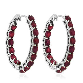 African Ruby (Rnd) Hoop Earrings (with Clasp) in Rhodium Plated Sterling Silver 10.000 Ct.