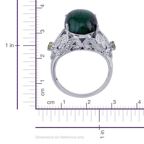 Malachite (Ovl 14.25 Ct), Hebei Peridot and Diamond Ring in Platinum Bond 14.510 Ct.