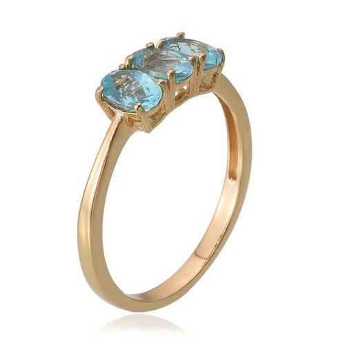 Paraibe Apatite (Ovl) Trilogy Ring in 14K Gold Overlay Sterling Silver 1.250 Ct.