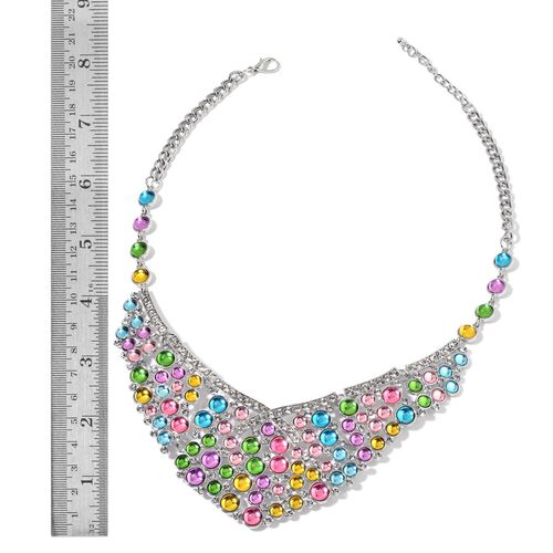 Simulated Multi Colour Stone and White Austrian Crystal Necklace  (Size 20 with 2 inch Extender) in Silver Tone