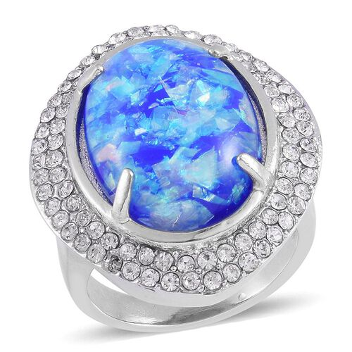 Simulated Blue Opal and White Austrian Crystal Ring in Stainless Steel