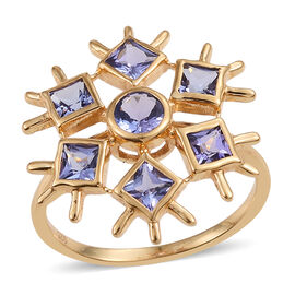 Tanzanite (Rnd) Snowflake Ring in 14K Gold Overlay Sterling Silver 1.250 Ct.