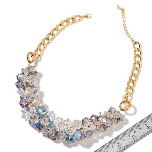 Simulated Mystic Topaz and Simulated White Diamond Necklace (Size 20 with 5 inch Extender) in Yellow Gold Tone