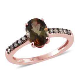 9K Rose Gold Brazilian Andalusite (Ovl 1.35 Ct), Natural Champagne Diamond Ring 1.500 Ct.