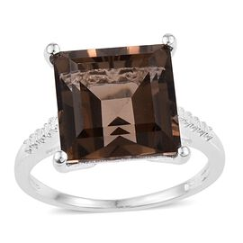 Brazilian Smoky Quartz (Sqr) Solitaire Ring in Sterling Silver 7.000 Ct.