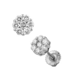 ILIANA 18K W Gold IGI Certified Diamond (Rnd) (SI/ G-H) Floral Stud Earrings (with Screw Back) 0.500 Ct.