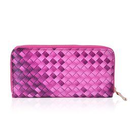 Fuchsia Colour Weave Pattern Wallet (Size 20x10x2.5 Cm)