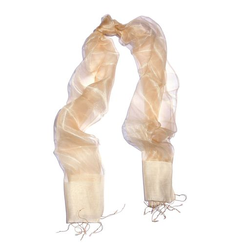 100% Mulberry Silk Golden and Beige Colour Scarf (Size 180x50 Cm)