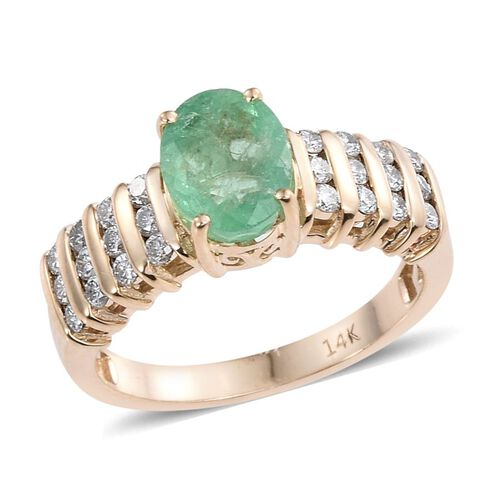 14K Y Gold Boyaca Colombian Emerald (Ovl 1.50 Ct), Diamond Ring 2.000 Ct.