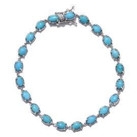 Arizona Sleeping Beauty Turquoise (Ovl) Bracelet (Size 7.5) in Platinum Overlay Sterling Silver 8.250 Ct.