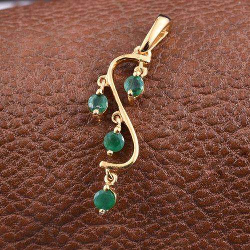 AA Brazilian Emerald (Rnd) Pendant in 14K Gold Overlay Sterling Silver 0.500 Ct.