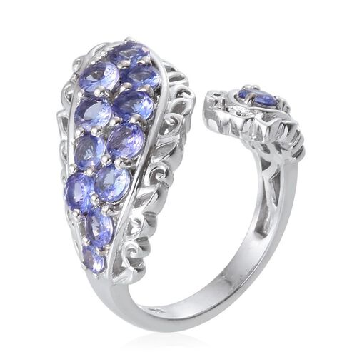 Tanzanite (Rnd) Ring in Platinum Overlay Sterling Silver 2.250 Ct.