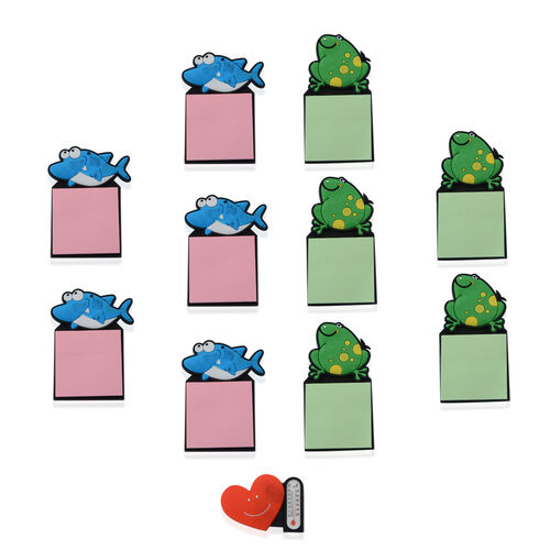Set of 11 - Blue Dolphin and Green Frog Magnetic Fridge Sticky Notes and Heart Thermometer