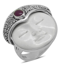 Princess Bali Collection OX Bone Carved Face (Rnd 7.00 Ct), African Ruby Ring in Sterling Silver 7.650 Ct.
