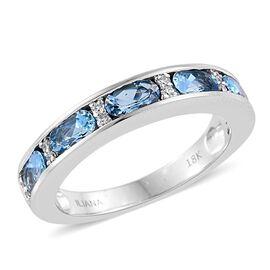 ILIANA 18K White Gold 1.25 Carat AAA Santa Maria Aquamarine Band Ring With Diamond SI G-H