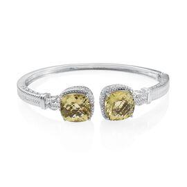 Checkerboard Cut Natural Ouro Verde Quartz (Cush), Diamond Bangle (Size 7.5) in ION Plated Platinum Bond 20.010 Ct.