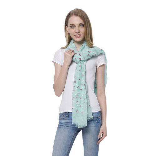 Cherry Pattern Turquoise Blue Colour Scarf (Size 180x70 Cm)