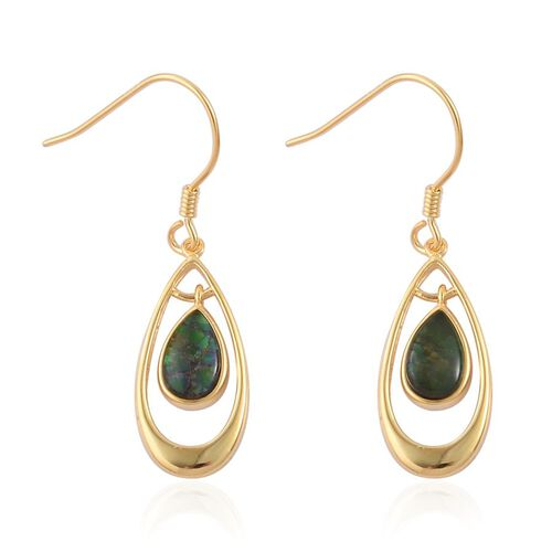 Canadian Ammolite (Pear) Hook Earrings in Yellow Gold Overlay Sterling Silver 1.750 Ct.