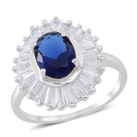 ELANZA AAA Simulated Sapphire (Ovl), Simulated White Diamond Ring in Rhodium Plated Sterling Silver