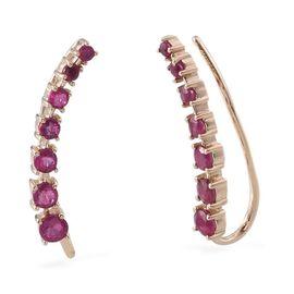 9K Y Gold Burmese Ruby (Rnd) Climber Earrings 2.000 Ct.