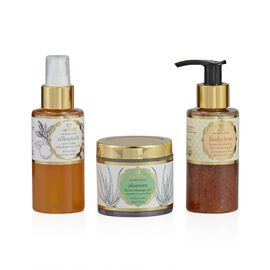 (Option 1) Just Herbs Silksplash (100ml) and Livelyclean Honey Exfoliating Face Cleansing (100ml) and Aloe Vera Facial Massage Gel (combination) (100g)