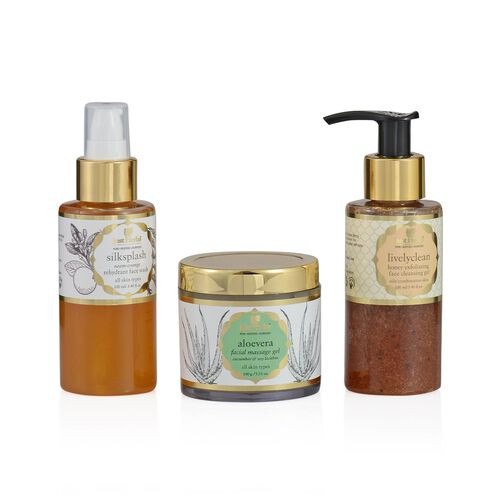 (Option 1) Just Herbs Silksplash (100ml) and Livelyclean Honey Exfoliating Face Cleansing (100ml) and Aloe Vera Facial Massage Gel (Oily) (100g)