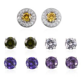 Set of 5 - Simulated Amethyst (Rnd), Simulated Peridot, Simulated Tanzanite, Simulated Citrine and Simulated Diamond Interchangeable Stud Earrings (with Push Back) in ION Plated Platinum Bond