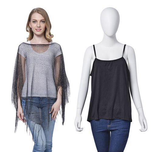 Black Colour Net Poncho (Size 150x45 Cm) and Black Colour Vest (Size 60x55 Cm)