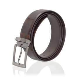 Genuine Leather Brown Colour Mens Belt with Silver Tone Buckle (Size 42 inch)