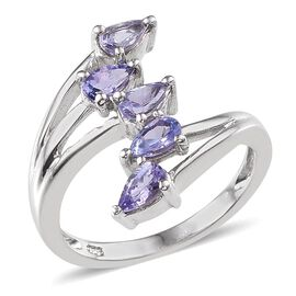 Tanzanite (Pear) 5 Stone Crossover Ring in Platinum Overlay Sterling Silver 1.000 Ct.