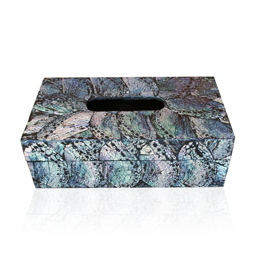 Bali Collection Home Decor - Rainbow Shell Inlay Tissue Paper Box (Size 23X14X8 Cm)