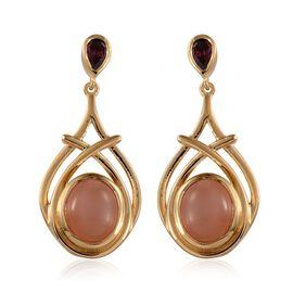 Mitiyagoda Peach Moonstone (Ovl), Rhodolite Garnet Earrings in 14K Gold Overlay Sterling Silver 9.400 Ct.