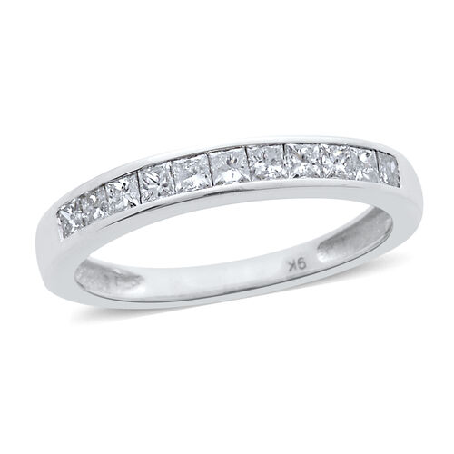 9K W Gold SGL Certified Diamond (Sqr) (I3/G-H) Half Eternity Band Ring 0.500 Ct.