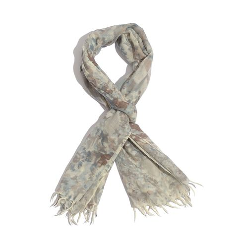 100% Merino Wool Beige, Grey and Multi Colour Woven Scarf (Size 180x70 Cm)