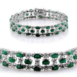 Kagem Zambian Emerald (Ovl), Diamond Bracelet in Platinum Overlay Sterling Silver (Size 8) 11.020 Ct.