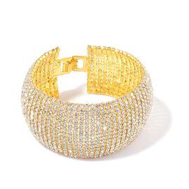 White Austrian Crystal Bracelet (Size 8) in Gold Tone