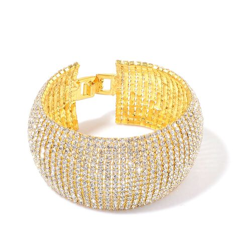 White Austrian Crystal Bracelet (Size 8) in Gold Tone