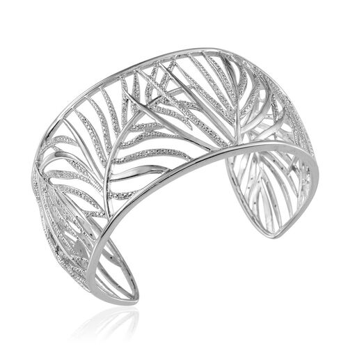 Diamond (Rnd) Leaf Cuff Bangle (Size 7.5) in Platinum Overlay Sterling Silver 1.000 Ct.