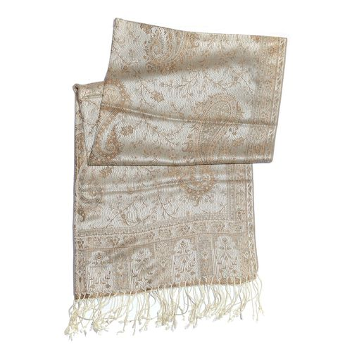 SILK MARK - 100% Superfine Silk Chocolate and Multi Colour Paisley and Leaves Pattern Cream Colour Jacquard Jamawar Shawl with Fringes (Size 180x70 Cm) (Weight 125-140 Grams)