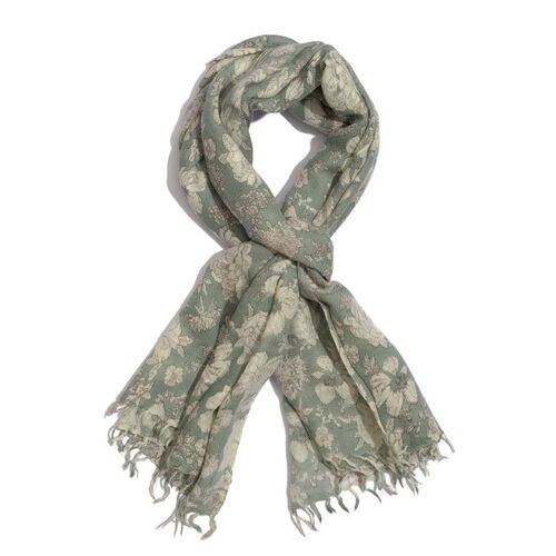 100% Merino Wool Green and Off White Colour Flower Printed Scarf (Size 190x70 Cm)