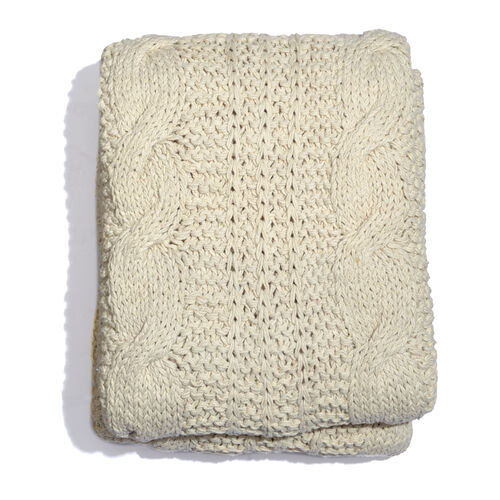 Cable Knit Pattern Cream Colour Plaid