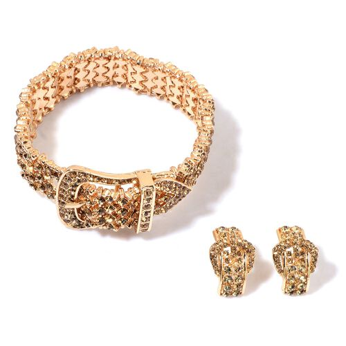 AAA Champagne Austrian Crystal Adjustable Buckle Bracelet and Earrings in Yellow Gold Tone