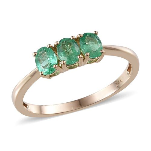 14K Y Gold Boyaca Colombian Emerald (Ovl) Trilogy Ring 1.000 Ct.