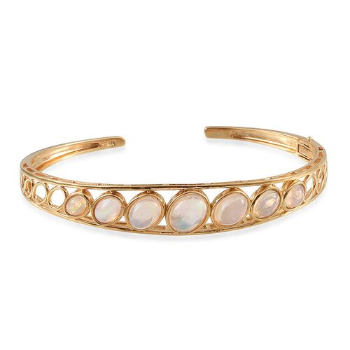 Ethiopian Welo Opal (Ovl 1.00 Ct) Bangle in 14K Gold Overlay Sterling Silver (Size 7.5) 3.750 Ct.