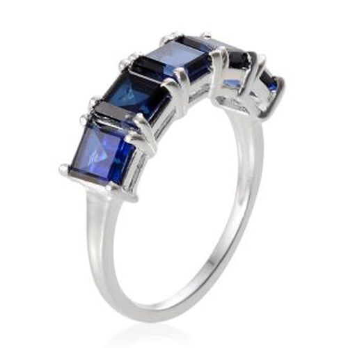 Simulated Blue Sapphire (Sqr) 5 Stone Ring in Sterling Silver 2.750 Ct.