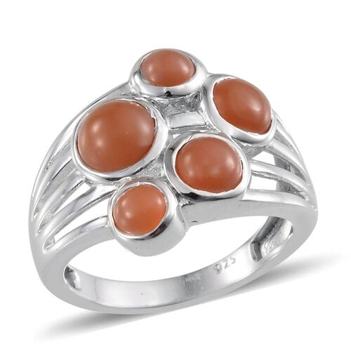 Mitiyagoda Peach Moonstone (Rnd 1.00 Ct) 5 Stone Ring in Platinum Overlay Sterling Silver 2.750 Ct.