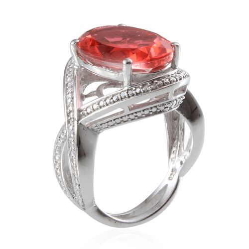 Padparadscha Colour Quartz (Ovl 8.50 Ct), Diamond Ring in Platinum Overlay Sterling Silver 8.530 Ct.
